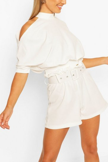 Ivory Cold Shoulder Short Sleeve Top