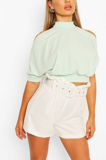 Mint Cold Shoulder Short Sleeve Top
