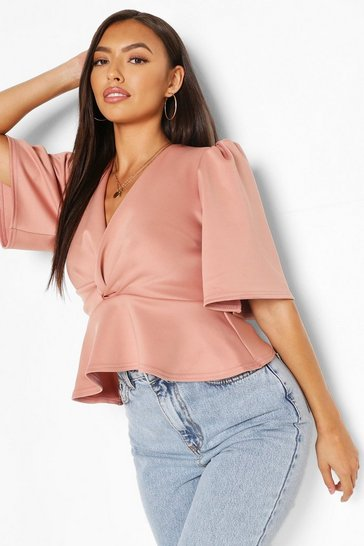 Rose Wrap Front Puff Sleeve Top
