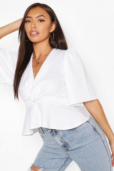 White Wrap Front Puff Sleeve Top