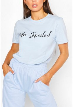 Un-Spoiled Slogan Top, Blue