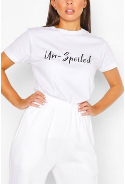 Un-Spoiled Slogan Top, White