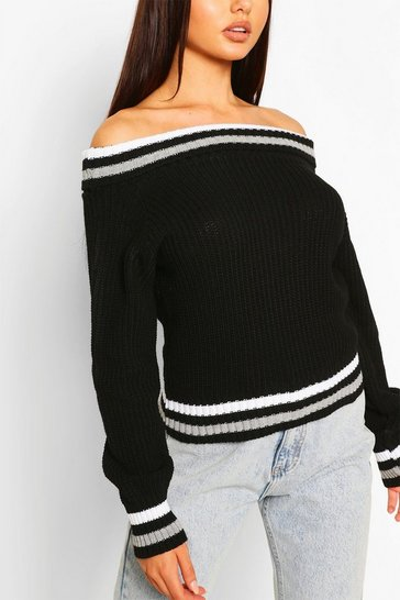 Black Off The Shoulder Stripe Crop Jumper