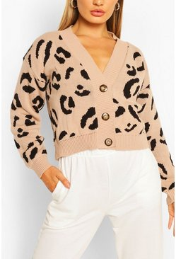 Stone Leopard Print Cropped Cardigan