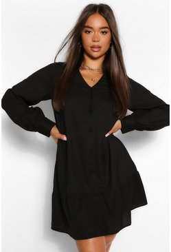 Black Button Through Drop Hem Shirt Dress