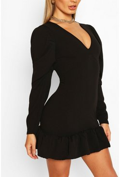 Black V Neck Ruffle Hem Shift Dress