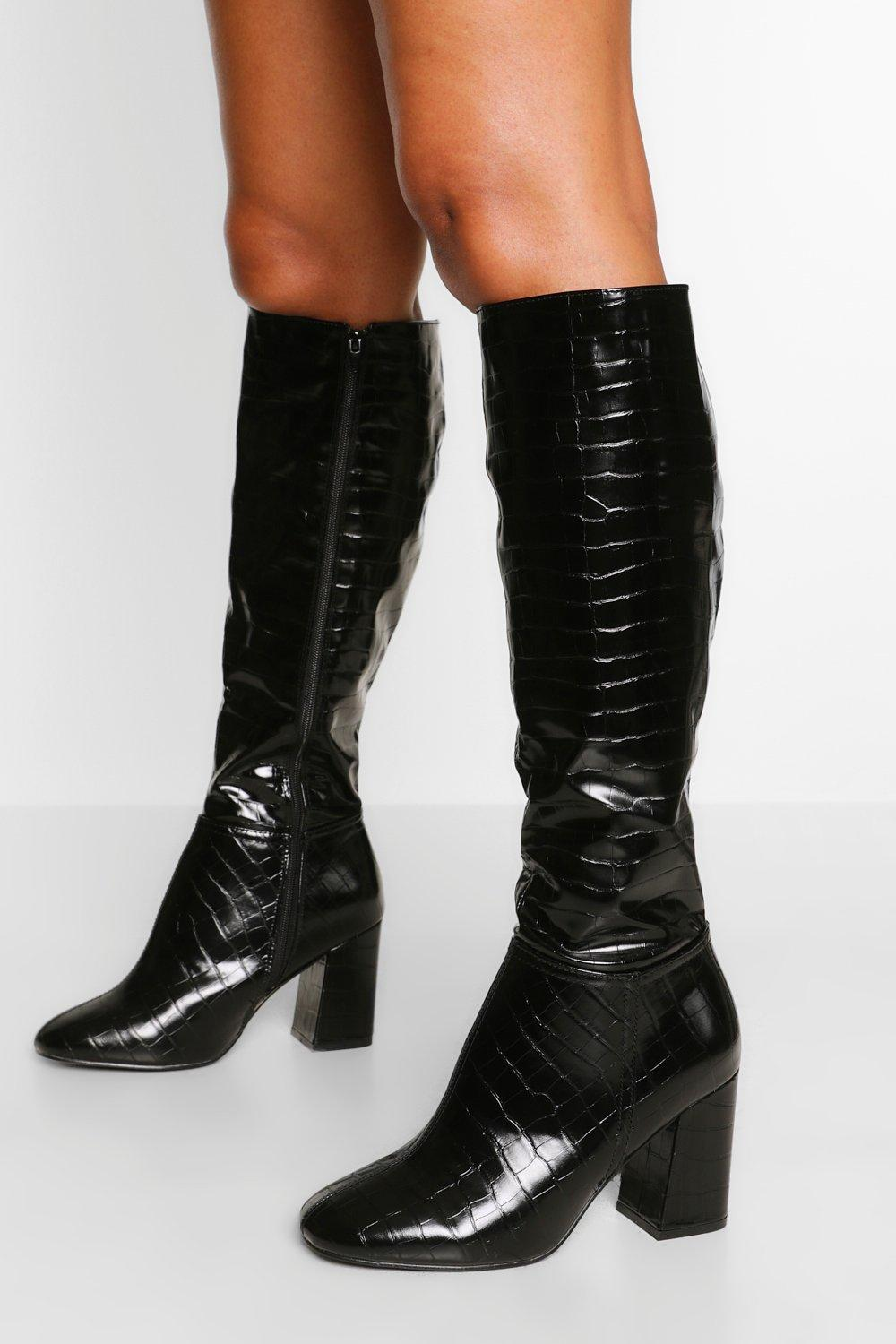 70s Shoes, Platforms, Boots, Heels | 1970s Shoes Womens Wide Fit Block Heel Knee Boot - Black - 10 $80.00 AT vintagedancer.com