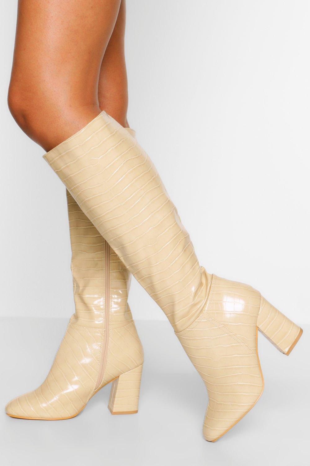 70s Shoes, Platforms, Boots, Heels | 1970s Shoes Womens Wide Fit Block Heel Knee Boot - White - 10 $80.00 AT vintagedancer.com