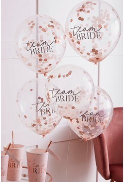 Rose gold Team Bride Confetti Balloon Cluster