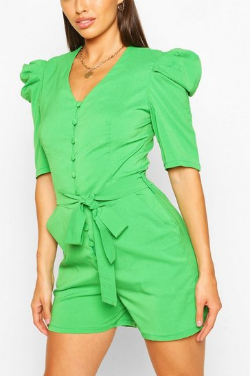 Green Volume Sleeve Button Through Belted Playsuit