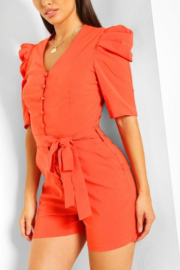 Orange Volume Sleeve Button Through Belted Playsuit