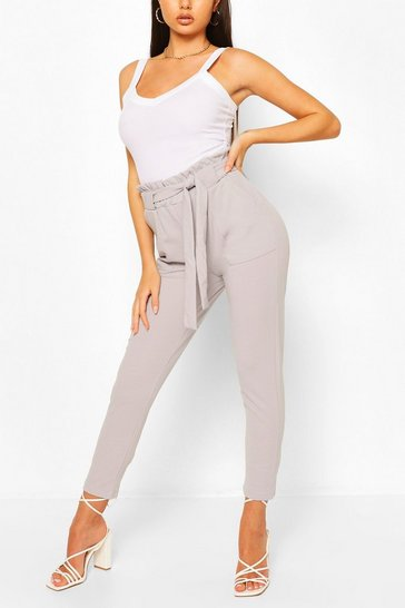 Grey Paper Bag Waist Belted Lounge Trouser