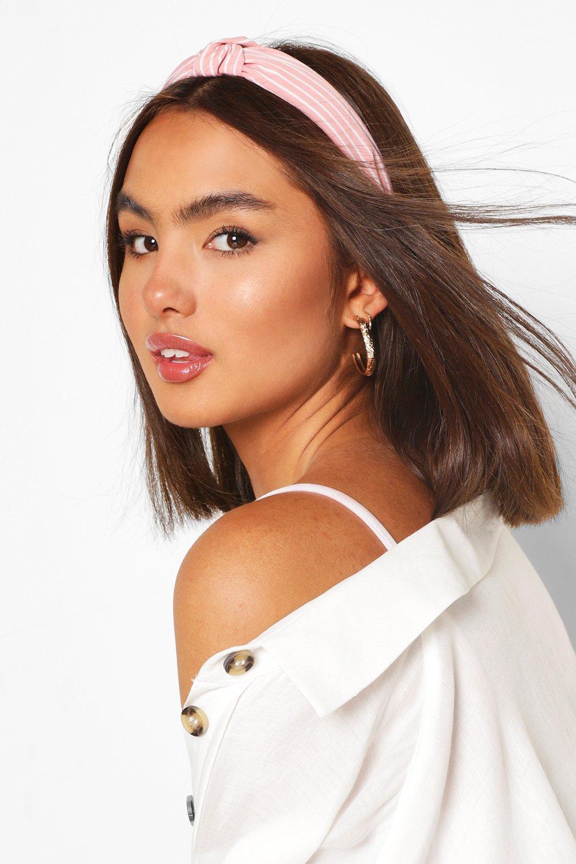 womens pinstripe twist knot headband - pink - one size