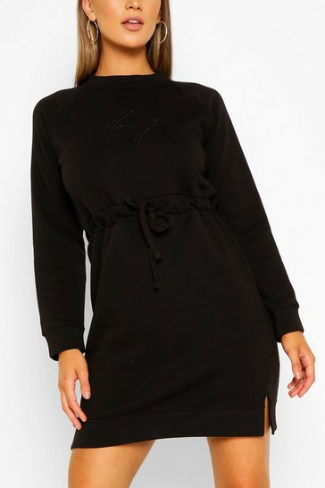 Black Honey Embroidered Sweater Dress