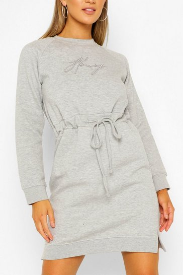 Grey Honey Embroidered Sweater Dress