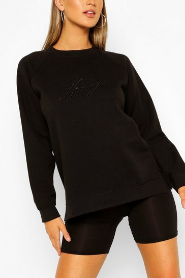 Black Honey Embroidered Sweater