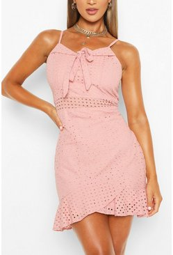 Bow Frill Hem Strappy Mini Dress, Pink