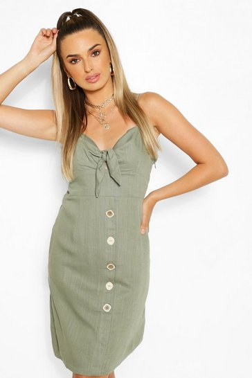Khaki Tie Front Button Mini Dress