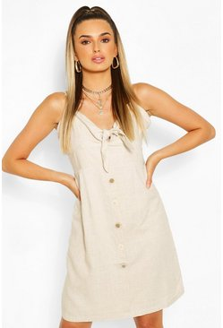 Tie Front Button Mini Dress , Natural