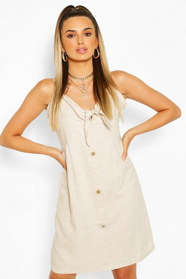 Natural Tie Front Button Mini Dress