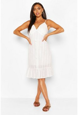 White Broderie Anglaise Frill Hem Mini Dress