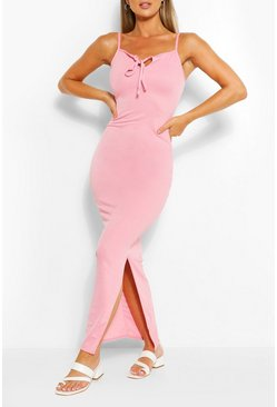 Keyhole Detail Maxi Dress, Pink