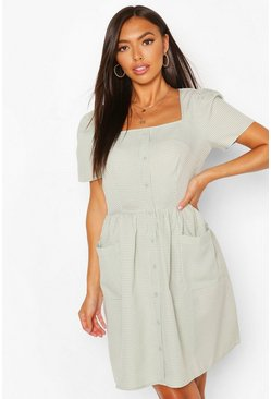 Square Neck Button Through Smock Dress, Mint