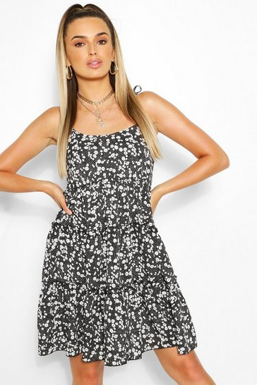 Black Ditsy Floral Tiered Tie Strap Swing Dress