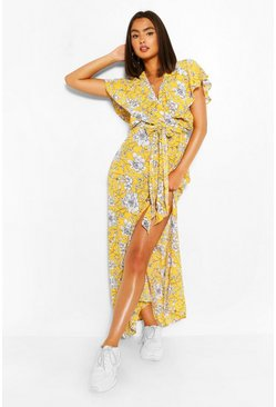 Yellow Tie Back Wrap Front Maxi Dress