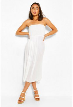 Shirred Bandeau Maxi Dress, White