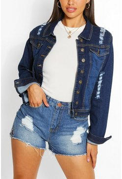Mid blue Distressed Back Detail Denim Crop Jacket