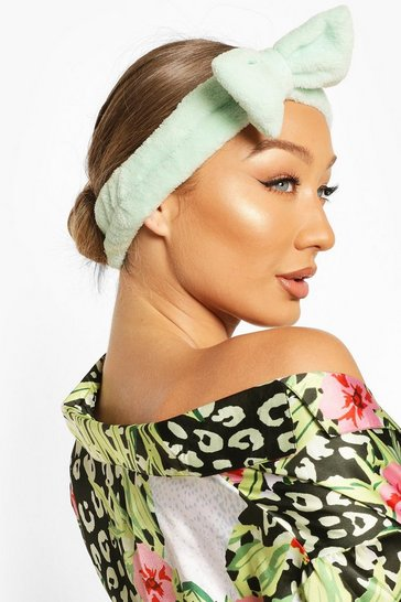 Mint Fluffy Bow Spa Facial Headband
