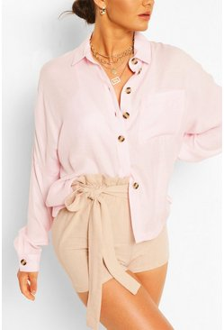Pink Oversized Linen Look Shirt