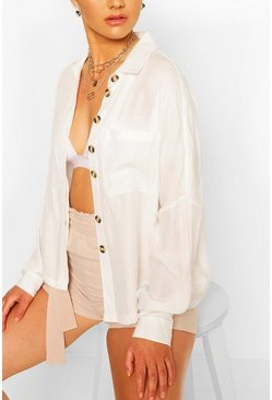 White Oversized Linen Look Shirt