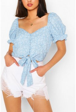 Blue Tie Front Puff Sleeve Broderie Crop Top