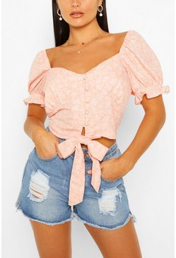 Pink Tie Front Button detail Puff Sleeve Crop Top
