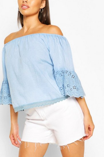 Light blue Off The Shoulder Broderie Trim Woven Top