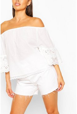 White Off The Shoulder Broderie Trim Woven Top