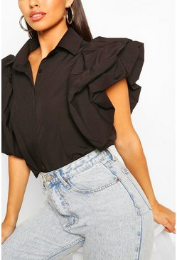 Black Ruffle Puff Sleeve Poplin Blouse