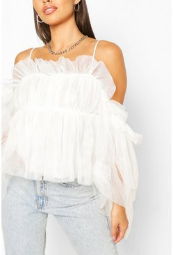 Ruffle Cold Shoulder Organza Top, White