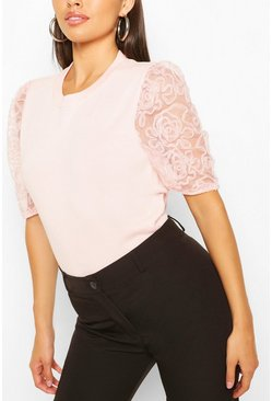 Pink Short Sleeve Organza Puff Sleeve Top