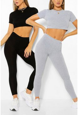 2 Pack Crop Top & Legging Co-ord Set, Multi