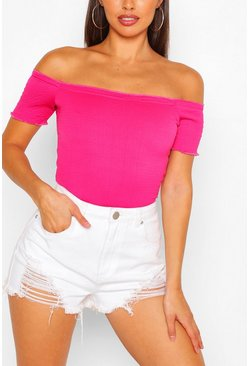 Red Lettuce Hem Off The Shoulder Crop Top