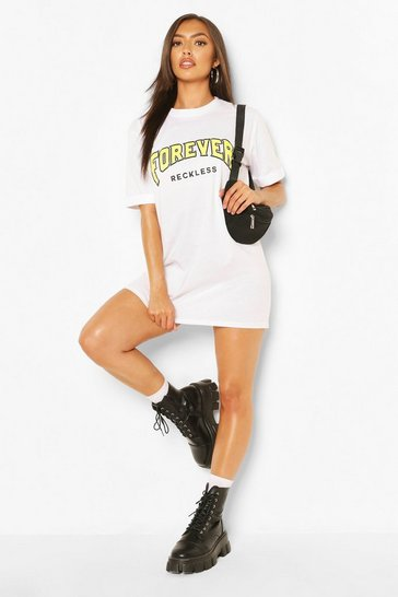 White Forever Reckless T-shirt Dress