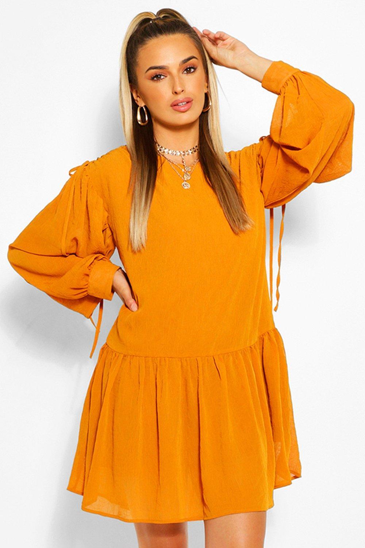 womens rouched shoulder drop hem shift dress - orange - 4