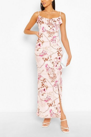 Pink Mix Print Ruffle Maxi Dress
