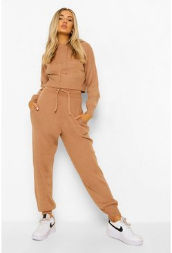 Camel Knitted Crop Hoody & Joggers Co-ord