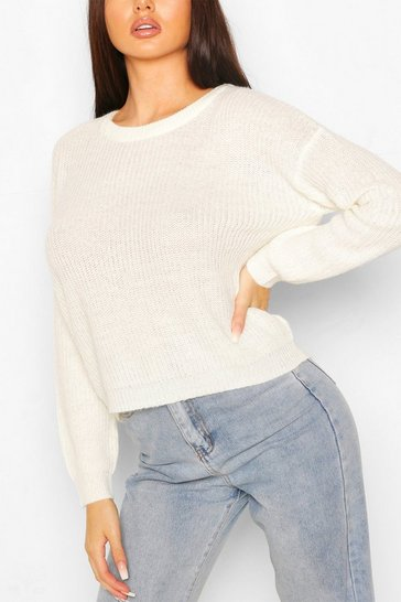 Ivory Loose Rib Knit Jumper