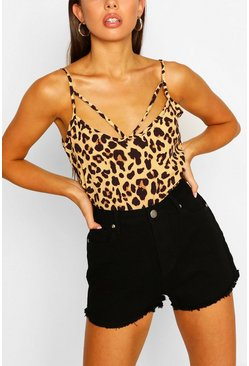 Leopard Print Cut Out Cami Top, Brown