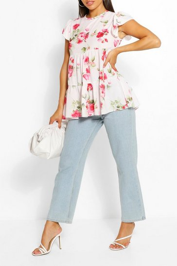 White Woven Floral Print Smock Top